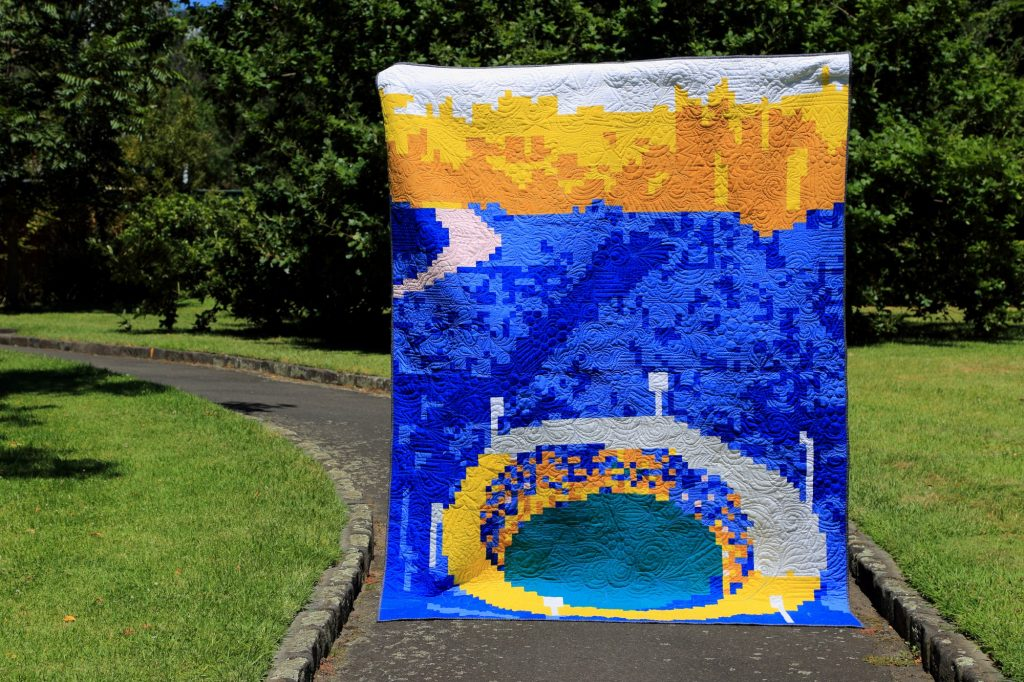 The G quilt made by the Melbourne Modern Quilt Guild