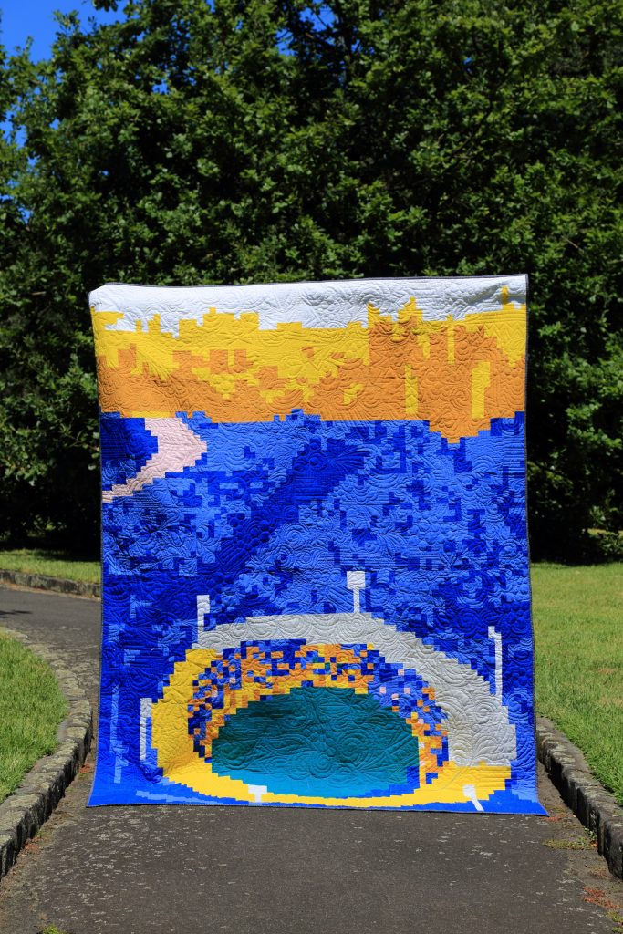 The G charity quilt made by the Melbourne Modern Quilt Guild